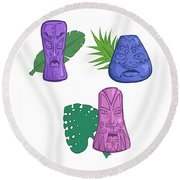 In The Tiki Room Round Beach Towel