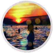 In The Water Round Beach Towel