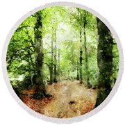 In The Wood Frame Round Beach Towel