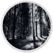 In The Woods 6 Round Beach Towel