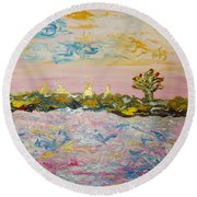 In The World Of Illusions Round Beach Towel