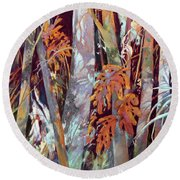 Round Beach Towel featuring the painting In This Land Of Fantastical Beasts by Rae Andrews