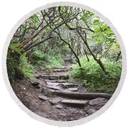 Round Beach Towel featuring the photograph The Enchanted Forest Path by Gary Smith