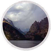 In Your Mountains I Find Strength Round Beach Towel