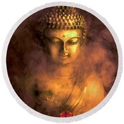 Round Beach Towel featuring the photograph Incense Buddha by Daniel Hagerman