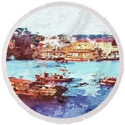 Inchon Harbor Round Beach Towel