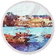 Round Beach Towel featuring the digital art Inchon Harbor by Dale Stillman