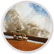 Incoming Round Beach Towel by Thomas Blood
