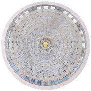 Incredible Ceiling Of Bahai Temple Round Beach Towel