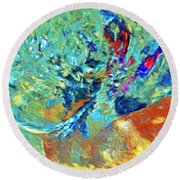 Round Beach Towel featuring the painting Incursion by Dominic Piperata