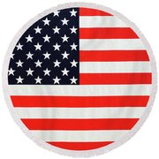 Independence Day Large Scale Oil On Canvas Original Landscape American Flag United States Flag Round Beach Towel