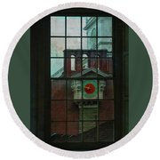 Round Beach Towel featuring the photograph Independence Hall Through Congressional Window by Jeff Burgess