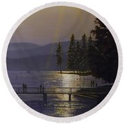 Independence Point, Lake Coeur D'alene Round Beach Towel