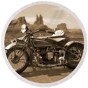 Indian 4 Sidecar Round Beach Towel