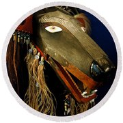 Indian Animal Mask Round Beach Towel by LeeAnn McLaneGoetz McLaneGoetzStudioLLCcom