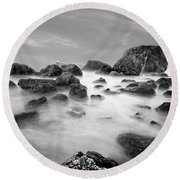 Indian Beach, Ecola State Park, Oregon, In Black And White Round Beach Towel