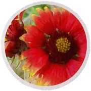 Indian Blanket Flowers Round Beach Towel
