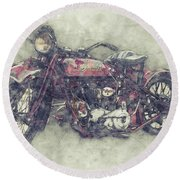 Indian Chief 1 - 1922 - Vintage Motorcycle Poster - Automotive Art Round Beach Towel