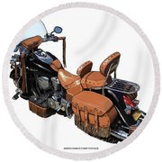 Indian Chief Vintage Original Handmade Drawing. Gift For Bikers. Man Cave Decoration Art Print Round Beach Towel