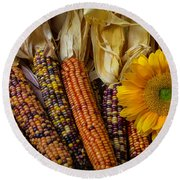 Indian Corn And Sunflowers Round Beach Towel