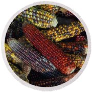 Round Beach Towel featuring the photograph Indian Corn by Joanne Coyle