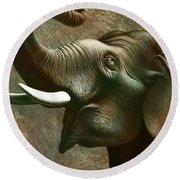 Indian Elephant 2 Round Beach Towel