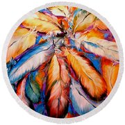 Indian Feathers 2006 Round Beach Towel