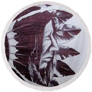 Indian Feathers Round Beach Towel