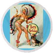 Indian Girl - Birthday Celebration Round Beach Towel
