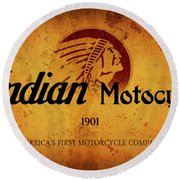 Indian Motocycle 1901 - America's First Motorcycle Company Round Beach Towel