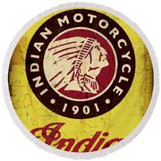 Indian Motorcycle Sign 1901 Round Beach Towel by Daniel Hagerman