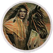 American Indian On Horse Round Beach Towel by Kathy Kelly