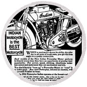 Round Beach Towel featuring the digital art Indian Power Plus Motocycle Ad 1916 by Daniel Hagerman