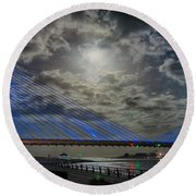 Indian River Bridge Moonlight Panorama Round Beach Towel