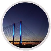 Round Beach Towel featuring the photograph Indian River Inlet Bridge by Ed Sweeney