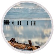 Round Beach Towel featuring the photograph Indian River Morning by Norman Peay
