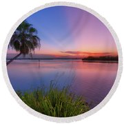 Round Beach Towel featuring the photograph Indian River State Park Bursting Sunset by Justin Kelefas
