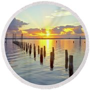Indian River Sunrise Round Beach Towel
