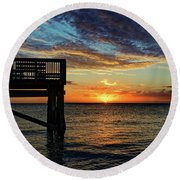 Indian Rocks Sunset Two Round Beach Towel