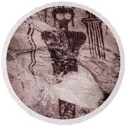 Indian Shaman Rock Art Round Beach Towel by Gary Whitton
