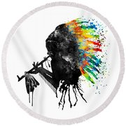 Indian Silhouette With Colorful Headdress Round Beach Towel