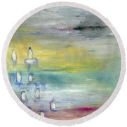 Round Beach Towel featuring the painting Indian Summer Over The Pond by Michal Mitak Mahgerefteh
