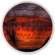 Round Beach Towel featuring the photograph Indian Summer Sunrise by Joyce Dickens