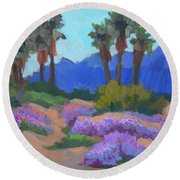 Round Beach Towel featuring the painting Indian Wells Verbena by Diane McClary