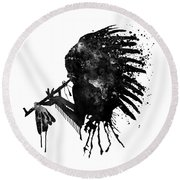 Round Beach Towel featuring the mixed media Indian With Headdress Black And White Silhouette by Marian Voicu
