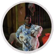 Round Beach Towel featuring the photograph Indian Woman And Her Dogs by Mike Reid