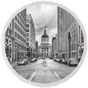 Indiana State Capitol Building Round Beach Towel