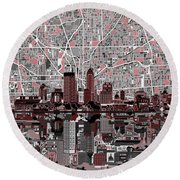 Indianapolis Skyline Abstract 1 Round Beach Towel by Bekim Art