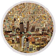 Indianapolis Skyline Abstract 2 Round Beach Towel by Bekim Art