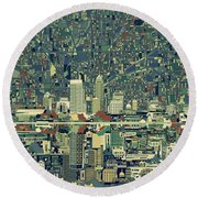 Indianapolis Skyline Abstract 3 Round Beach Towel by Bekim Art